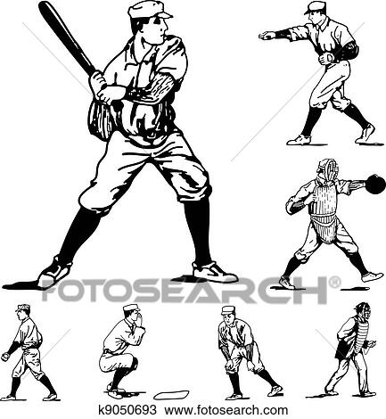 Clipart Of Vector Vintage Baseball Icons K9050693