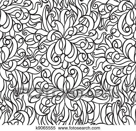 Clipart - Floral seamless line vector wallpaper. Fotosearch