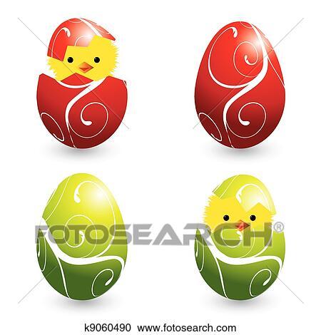 Renkli Paskalya Yumurtaları Ve Yumurtadan çikan Hayvanlar