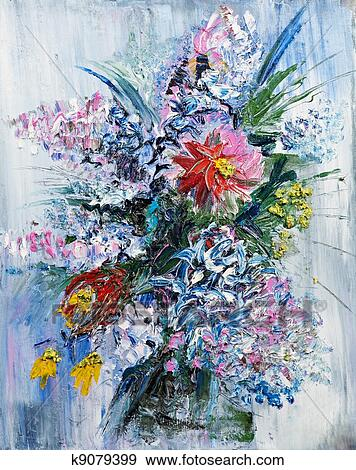 Stock photograph of oil painting bouquet of spring flowers k9079399 stock photograph oil painting bouquet of spring flowers fotosearch search stock photography mightylinksfo