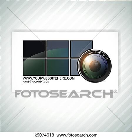 Clip art of photographer business card template k9074618 search photographer abstract business card template with camera lens wajeb Image collections