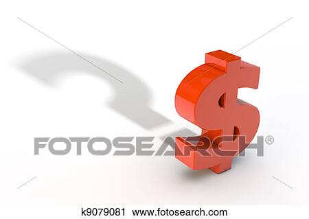 Clipart Of Red Dollar Currency Symbol With Question Mark Shadow