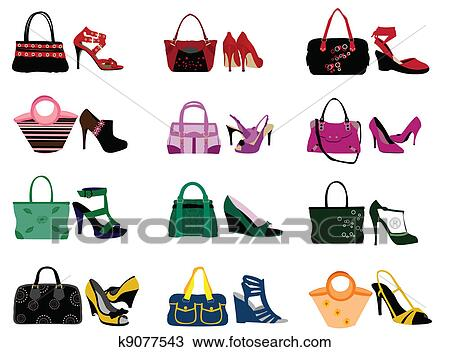 Clipart Of Shoes And Bags K9077543 Search Clip Art Illustration