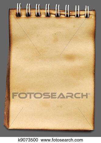 d86a565d12 Banques de Photographies - vieux, papier cahier, sur, arrière-plan gris, à,  ombre