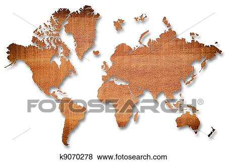 Wood world map on the white. Stock Illustration | k9070278 | Fotosearch
