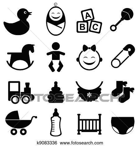 Clip Art Baby Symbol Satz K9083336 Suche Clipart Poster