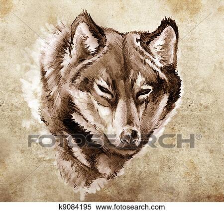 banque d 39 image croquis de tatouage art illustration de a t te loup k9084195. Black Bedroom Furniture Sets. Home Design Ideas