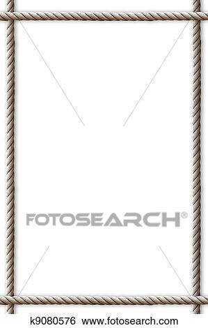 Stock Illustration of frame made from rope on white background ...