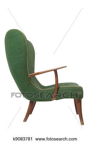 Bare ut Grønn, retro, lenestol, på hvit, bakgrunn Arkivbilde | k9083781 PK-74