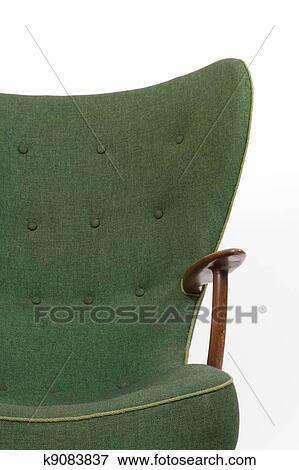 Alvorlig Grønn, retro, lenestol, på hvit, bakgrunn Arkivfoto | k9083837 VJ-48
