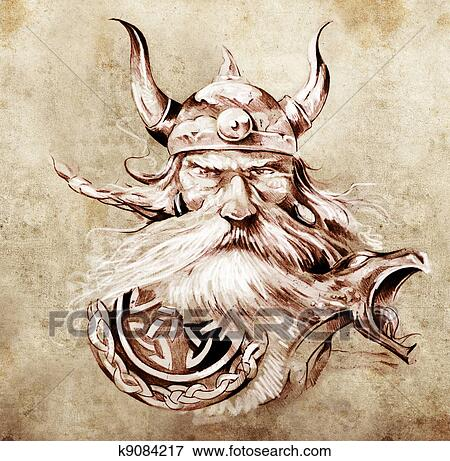 image tatouage art croquis de a viking guerrier. Black Bedroom Furniture Sets. Home Design Ideas