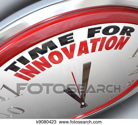 Drawing Of Time For Innovation Clock Need For Change And Ideas