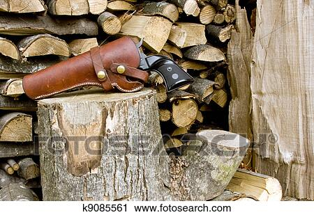 Western revolver and holster Stock Image