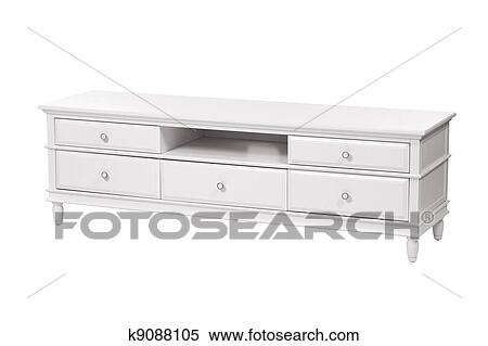 Stock Image Of White Wooden Tv Stand Chest Of Drawers K9088105