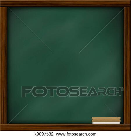 clip art of chalkboard blackboard with frame and brush chalkboard