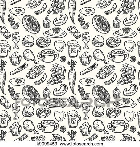 Clip Art Of Seamless Food Pattern K9099459 Search Clipart