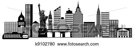 Stock Illustraties New York Stad Skyline Panorama Lijntekeningen