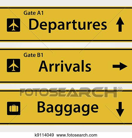 Clip Art Of Airport Signs Illustration K9114049 Search Clipart