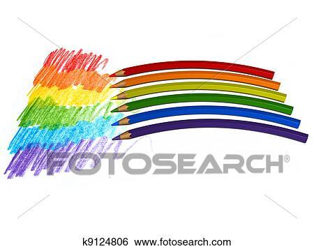 Archivio Illustrazioni Arcobaleno Da Colorare Matite K9124806