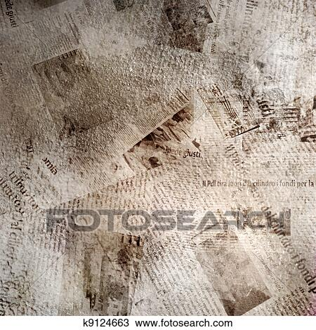 Drawing Of Grunge Abstract Background With Old Newspaper K9124663