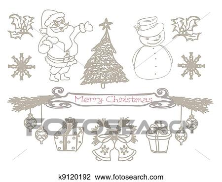 Hand drawn christmas doodles Drawing