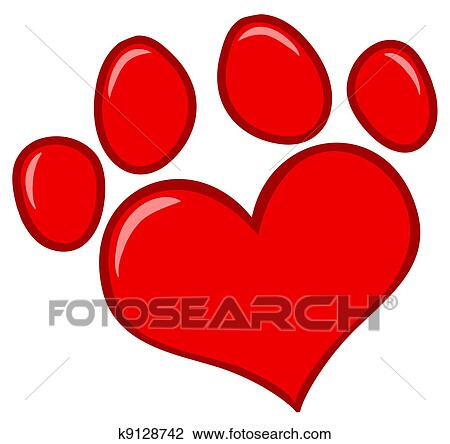 clipart of love paw print k9128742 search clip art illustration rh fotosearch com