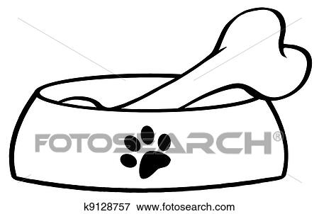 clip art of outlined dog bowl with big bone k9128757 search rh fotosearch com bing clip art images bing clip art free download