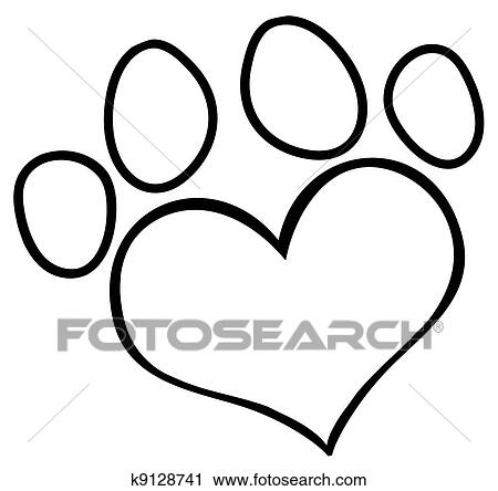 clipart of outlined love paw print k9128741 search clip art rh fotosearch com dog paw heart clipart