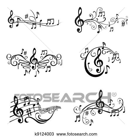 Clipart of set of musical notes illustration in vector for Note musicali dwg