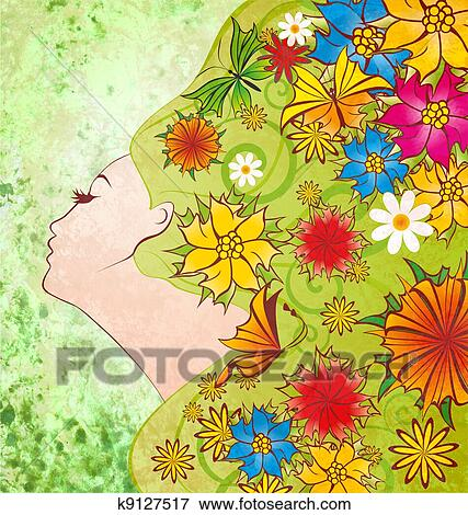 Stock Illustration Of Spring Flowers Fairy Face On Green Grunge
