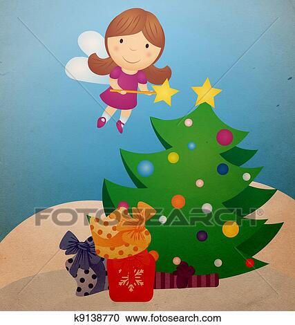 Christmas Tree And Fairy Vintage Cartoon Clipart K9138770 Fotosearch Cartoon christmas tree christmas themes christmas ornaments funny pillows christmas cushions personalized pillow cases flower pillow decorative cushions perfect pillow. fotosearch