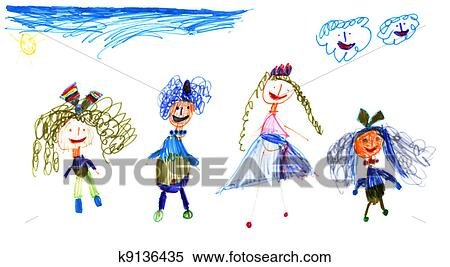 Enfants à Ciel Et Soleil Vrai Dessin De Cinq Année Vieille Petite Fille Anna Collage Banque D Illustrations