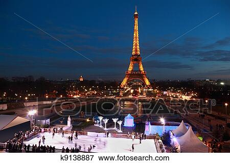 Picture Of Paris January 2 People Skate At Night On January 2