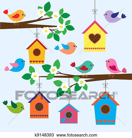 clipart of birdhouses in spring k9148393 search clip art rh fotosearch com cute birdhouse clipart birdhouse clipart black and white