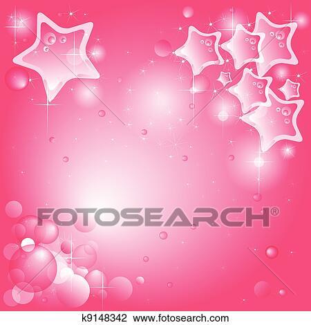 Sfondo Rosa Con Stelle E Bolle Available Vector Clipart