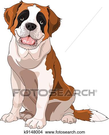 clipart of st bernard dog k9148004 search clip art illustration