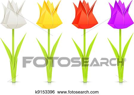 Clip art of set of tulips paper origami flowers k9153396 search clip art set of tulips paper origami flowers fotosearch search clipart illustration mightylinksfo