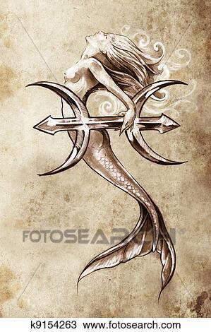 Tatouage art croquis de a sir ne poissons vendange - Croquis poisson ...