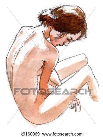 裸である 女の子 後ろ から 見られる ヌード 芸術 手 引かれる で 鉛筆 そして インク イラスト K Fotosearch