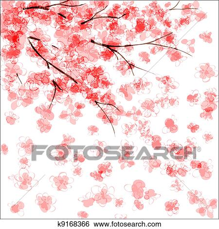 clip art of cherry blossom k9168366 search clipart illustration rh fotosearch com Japanese Cherry Blossom Drawings Japanese Cherry Blossom Pencil Drawing