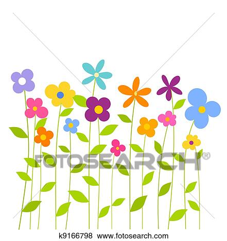Clip Art Of Colorful Spring Flowers K9166798 Search Clipart