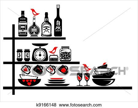 Küche Clipart | Clip Art Wand Aufkleber Schwarz Rot Kueche Regale K9166148
