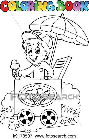 Clip Art Ausmalbilder Mit Eis Mann K9178507 Suche Clipart