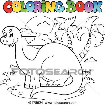 Clipart Of Coloring Book Dinosaur Scene 1 K9178524