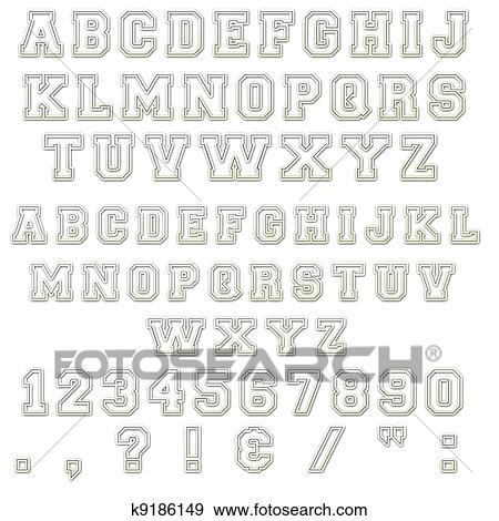 Colección de ilustraciones - azul & blanco, bloque, alfabeto, cartas ...