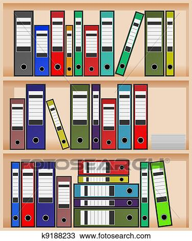 Bücherregal clipart  Clipart - büro, regal k9188233 - Suche Clip Art, Illustration ...