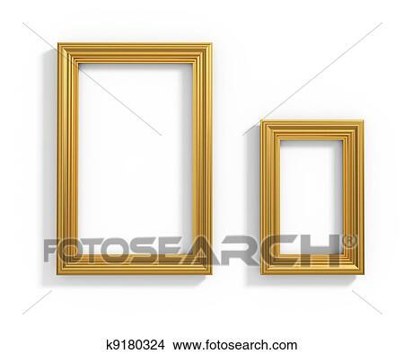 Plank Voor Lijstjes.Gouden Lijstjes Stock Illustraties