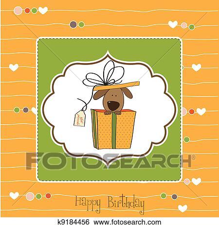 Rigolote Carte Anniversaire A Chien Clipart K9184456 Fotosearch
