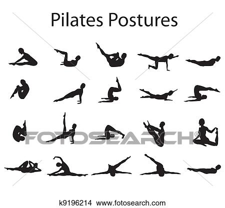 Dessins 20 Pilates Ou Yoga Attitudes Positions Illustration