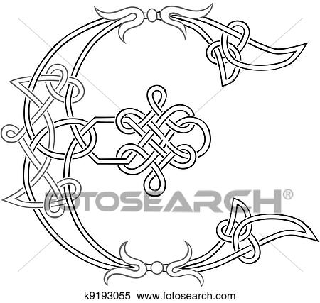 Celtic Knot Work Capital Letter E Clipart